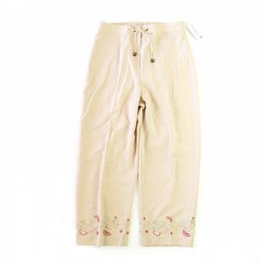 Bloomingdale's Tan Floral Embroidered Tencel Pants